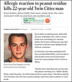 Allergy avoidance didn't work. Allergic reaction to peanut residue kills 22-year-old Twin Cities man