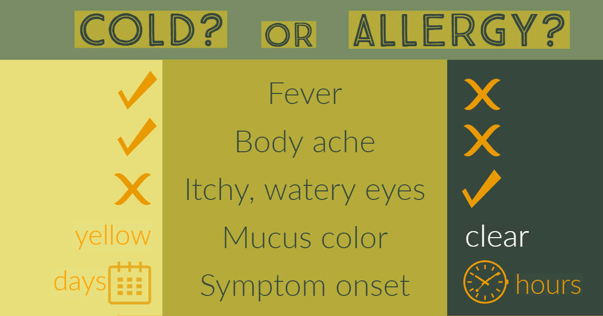 How do you know if your symptoms are from a cold or allergy? Here's a chart to help you determine.